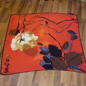 Eximious of London Red Floral Silk Scarf